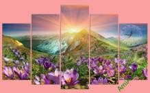 Tranh phong cảnh đồng hồ đồi hoa nắng TDH279