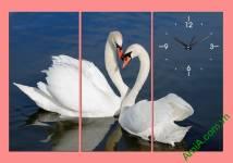 Tranh đồng hồ ghép bộ đôi chim uyên ương Amia 327