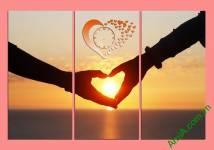 Tranh đồng hồ trái tim tình yêu Amia 329