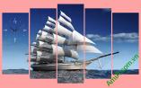 Tranh thuận buồm xuôi gió ghép bộ nhiều tấm nghệ thuật (TDH 330)