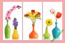 Tranh bình hoa ghép bộ trang trí phòng khách Amia352