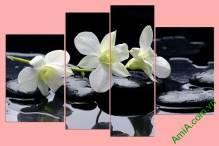 Tranh hoa lan ghép bộ treo phòng khách Amia 366