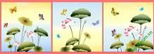Tranh hoa sen ghép bộ 3 tấm Amia 408
