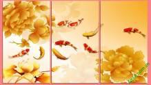 Tranh cá chép hoa sen vàng amia 410