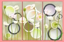 Tranh trang trí tường hoa kết hợp hình học Amia 416