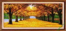 Tranh in giả sơn dầu con đường mùa thu Amia 433