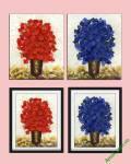 Tranh vẽ cây nghệ thuật xanh đỏ Amia 847