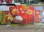 Tranh sơn dầu ghép bộ bình hoa 5 tấm