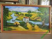 Tranh sơn  dầu phong cảnh làng quê