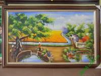 Tranh sơn dầu phong cảnh cây đa giếng nước