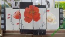 Tranh sơn dầu ghép bộ hoa hiện đại