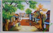 Tranh sơn dầu phong cảnh phố cổ Hà Nội