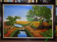 Tranh sơn dầu cảnh làng quê Việt