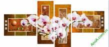 Tranh hoa lan ghép bộ hiện đại Amia 888