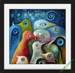 Khung tranh trang trí chim sắc màu Amia 877