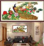 Tranh chim công và hoa mẫu đơn đẹp Amia 882