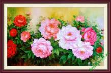 Khung tranh hoa mẫu đơn trang trí đẹp Amia 901