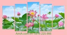 Tranh hoa sen trang trí nhà đẹp Amia 915