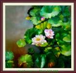 Tranh hoa sen một tấm có khung trang trí nhà đẹp amia 912