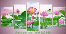 Tranh hoa sen ghép bộ khổ lớn Amia 914