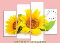 Tranh đồng hồ hoa hướng dương ghép bộ Amia 916