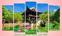 Tranh hồ sen chùa một cột đẹp Amia 930