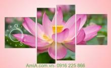 Tranh đồng hồ hoa sen ghép lệch 4 tấm hiện đại Amia 933