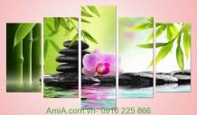 Tranh ghép bộ 5 tấm trang trí Spa đẹp Amia 942