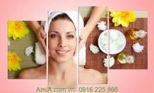 Tranh trang trí Spa hình cô gái đang được massage Amia 944