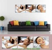 Tranh trang trí Spa hình cô gái đang được massage Amia 948