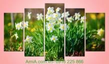 Tranh hoa thủy tiên trang trí phòng đẹp Amia 950