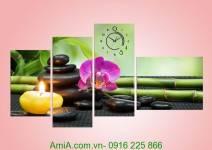 Tranh hoa lan tím trang trí spa Amia 954