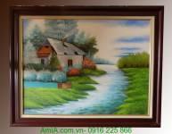 Tranh sơn dầu ngôi nhà ven sông TSD114
