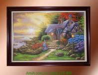 Tranh sơn dầu ngôi nhà hạnh phúc TSD115