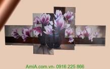 Tranh sơn dầu bình hoa đôi mộc lan cực đẹp TSD119