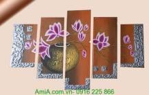 Tranh sơn dầu bình hoa mộc lan TSD01-1
