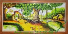 Tranh sơn dầu phong cảnh làng quê gốc đa đầu làng TSD 145