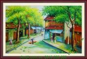Tranh sơn dầu phố cổ mùa thu treo tường hiện đại TSD 146