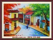 Tranh sơn dầu phong cảnh mùa thu Hà Nội TSD 143