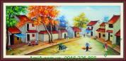 Tranh vẽ sơn dầu phong cảnh phố cổ sáng sớm TSD 148