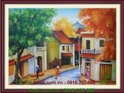 Tranh vẽ sơn dầu treo tường phố xưa Hà Nội TSD 133