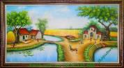 Tranh sơn dầu vẽ phong cảnh làng quê ngày mùa TSD 144