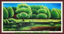 Tranh sơn dầu phong cảnh công viên cây xanh TSD178