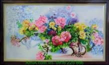 Tranh sơn dầu hoa mẫu đơn trong vườn TSD157-01