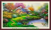Tranh sơn dầu phong cảnh đẹp ngôi nhà Châu Âu TSD183
