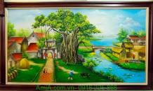 Tranh phong cảnh làng quê vẽ sơn dầu TSD185