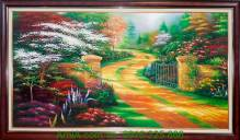 Tranh vẽ con đường thu bằng chất liệu sơn dầu TSD 186