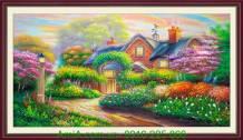 Tranh vẽ sơn dầu phong cảnh ngôi nhà châu âu TSD188