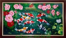 Tranh phong thủy vẽ sơn dầu cá chép hoa mẫu đơn TSD189