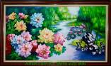 Tranh phong thủy hoa mẫu đơn vẽ sơn dầu TSD190